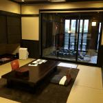 living/dining area looking out to the private onsen