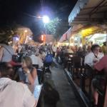 Busy Lolos with extra seating in the street for Harmony Night