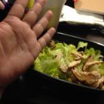 chicken ceasar salad $13.99 smaller than my hand