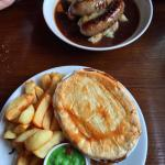 Pie of the day, with trio of local sausages and mash
