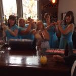 The girls take over the bar.