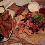 chicken finger, red tractor nachos