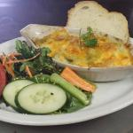 Baked Chef Spatzli with side salad and garlic toast