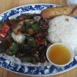 Pepper Steak lunch with additional egg roll