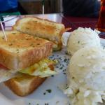 Hook Line & Sinker sandwich and mashed potatoes