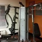 ffitness room. The cable machine is a little beat up but still works