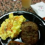 breakfast day 1, chedder scramble eggs and sausage patties