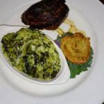 Steak with cream spinach