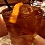 Chicago Old Fashioned with bacon-infused bourbon & maple syrup