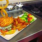 Homemade cheeseburger, prawn salad, sticky toffee pudding.......