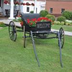 Wagon with flowers offer a warm welcome