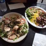 Falafel salad (amazing), and Beef Shawarma also delish.