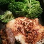 Parmesan crusted ribeye with broccoli