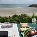 Here is a photo of my lunch overlooking the beach from a private house... Fantastic views.