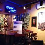 A secondary piano in the Piano Bar.