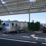 Campsite under solar panels at Tucson KOA