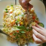 Pad kee mao, shrimp fried rice, wonton soup, curry salmon