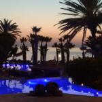 Pool area at sunset