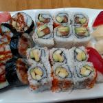 Boston, tempura shrimp, East rolls, Tuna, White tuna & Mackerel sushi