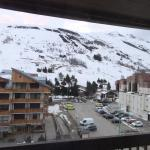View of the slopes from the 4th floor. Far right is the swimming pool and main Jandri Express li
