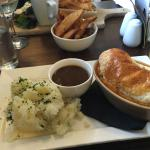 Lovely express lunch! Beer batter fish in granary bread, chunky chips & mushroom soup.   Pie of