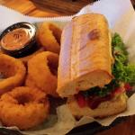Grinder and onion rings.