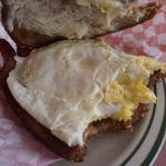 Breakfast sandwich $5.99. April 2016. Two REAL eggs, three huge strips of bacon! Fried rye bread