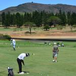 Vista do restaurante para o campo de golf