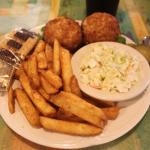 Crab cakes, slaw and fries