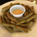 Fried green beans with chipotle sauce at the bar
