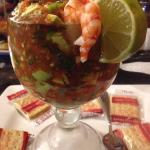 The shrimp cocktail is huge, and can be shared by 4 easily. It's awesome. The 32oz strawberry ma