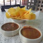 complimentary chips with two different salsas