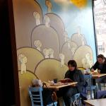 dining area and mural