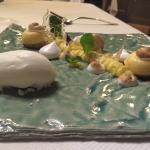 Truite du lac pêchée le jour même  Entrée, amuse bouche, 2ème entrée, plat, pré-dessert avec Azo