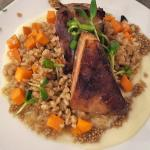 Pork belly with farro and sweet potato risotto