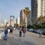 Walking on the Corniche in Beirut (seaside promenade) toward the Le Vandome. .