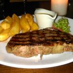 Aged rib fillet and chips, salad or veggies are extra