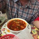 Cactus taco, menudo soup, and gordita