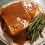 Hot Roast Beef Sandwich, Mashed Potatoes & Gravy and Green Beans