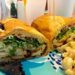 caliente sandwich with homemade macaroni salad