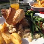 Delicious chicken and leek pie enjoyed in their delightful garden.