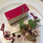 Beetroot Goats Cheesecakewith Walnut and Rocket Salsa. Tasted amazing!