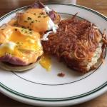 Eggs Benedict with Harissa (chile) Sauce and Hash Browns