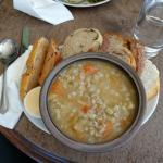 Vegetable broth and artisan bread - delicious!