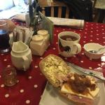 Fantastic ham and Wensleydale cheese sandwich on crusty homemade bread for weary hikers. Many th