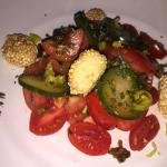 Tomato salad with koulouri from Thessaloniki