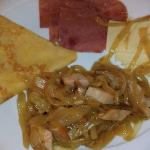 Crepe , cheese, sausages in cabbage and ham.