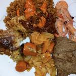 Buffet Lunch : Tchiebou dieune ( Rice and Fish ) Senegalese National dish, beef and shrimp