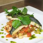 Sea bass served with white bean stew
