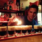 Stepan the barman setting up the B52s